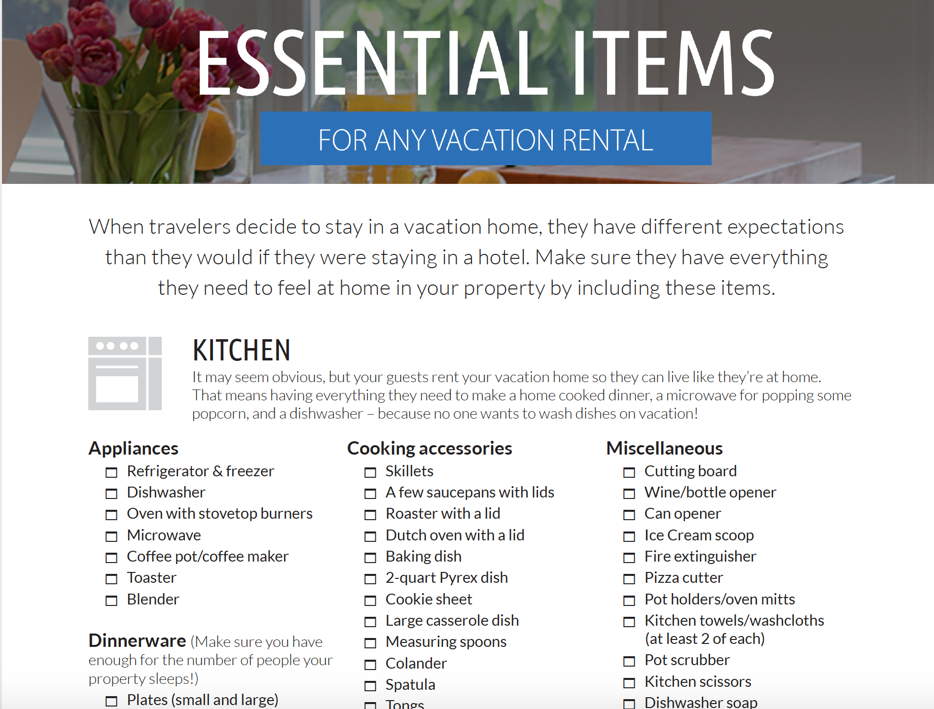 Kitchen Checklist checklists for your vacation home
